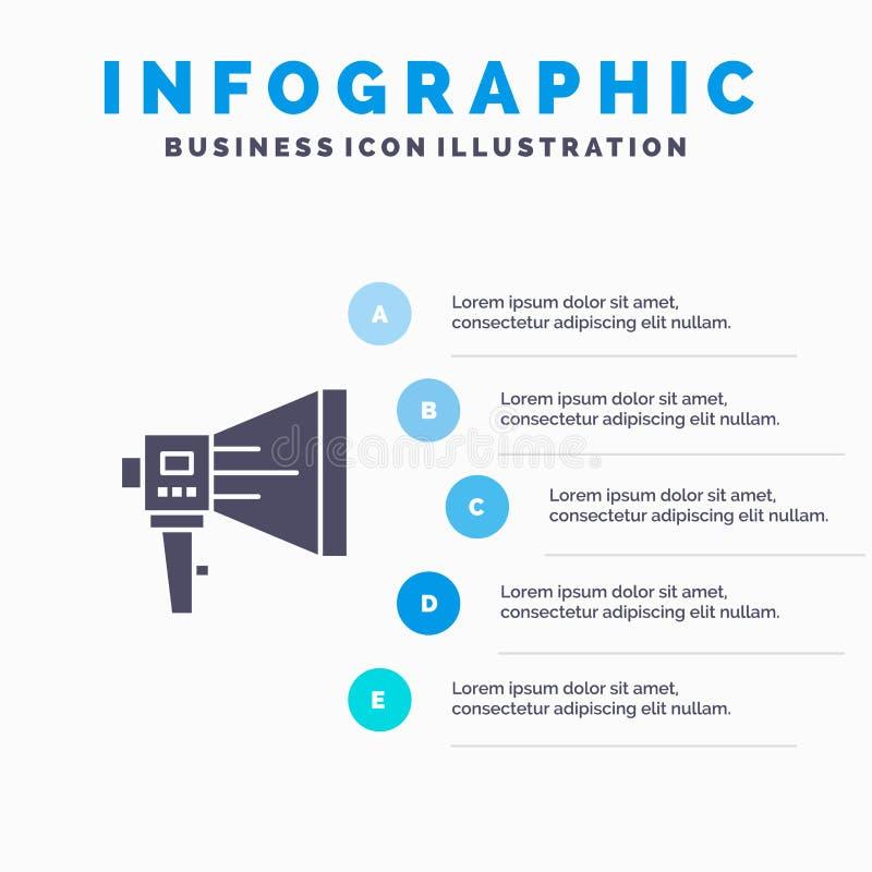 Annoncez, Digital, haut-parleur, vente, mégaphone, haut-parleur, fond solide de présentation d'étapes d'Infographics 5 d'icône d' illustration libre de droits
