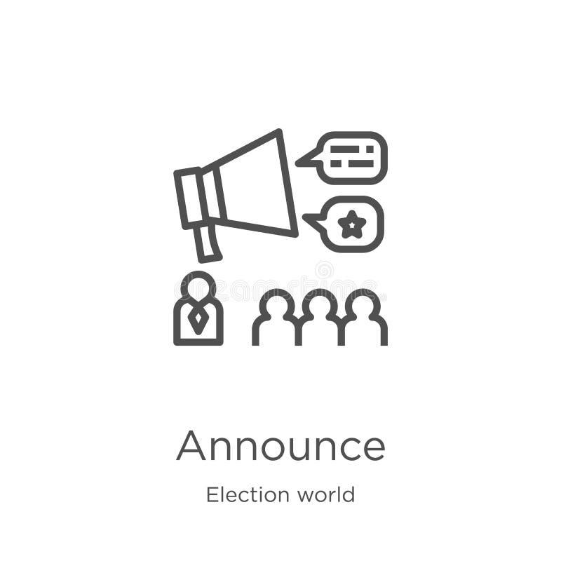 annoncez le vecteur d'icône de la collection du monde d'élection La ligne mince annoncent l'illustration de vecteur d'icône d'ens illustration stock