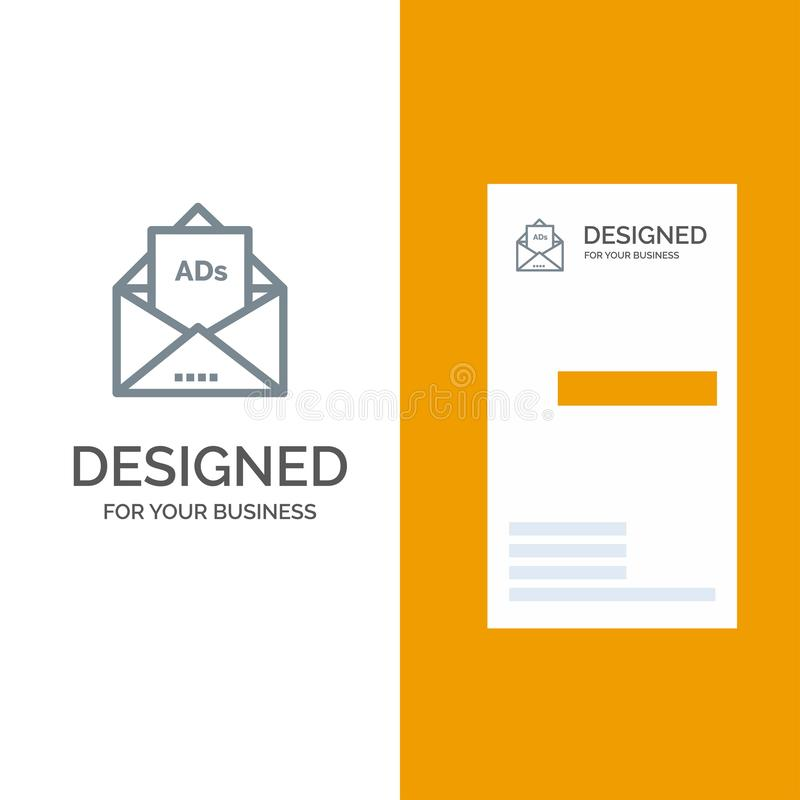 Annons, annonsering, Email, bokstav, post Grey Logo Design och mall för affärskort royaltyfri illustrationer