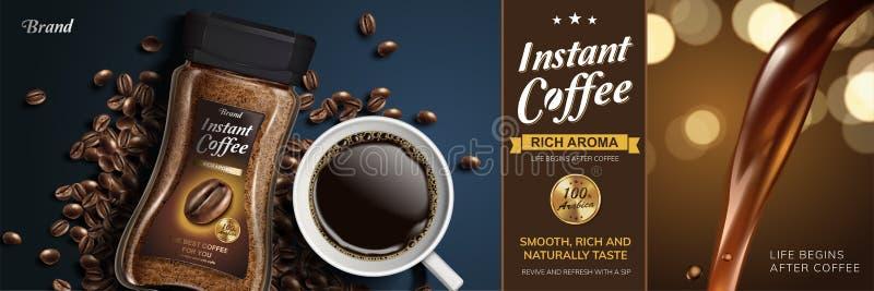 Annons för ögonblickligt kaffe vektor illustrationer