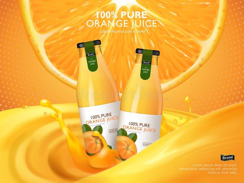 Annons för orange fruktsaft vektor illustrationer