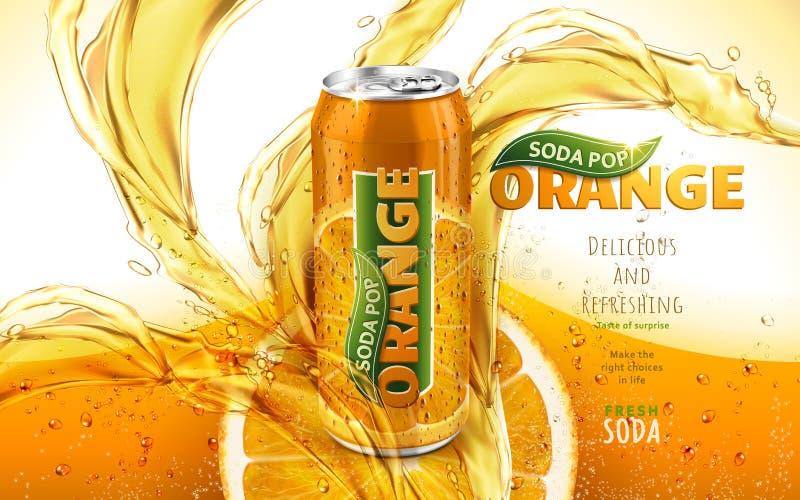 Annons för pop för orange sodavatten royaltyfri illustrationer