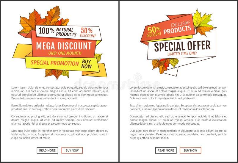 Annons för pris för Promohöst- eller nedgångrabatt halv stock illustrationer