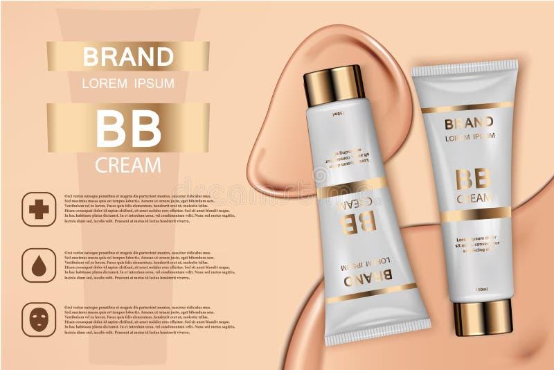 Annons för produkter för hudfärgpulver kosmetisk Illustration för vektor 3d Design för mall för flaska för hudkräm Framsida- och  vektor illustrationer