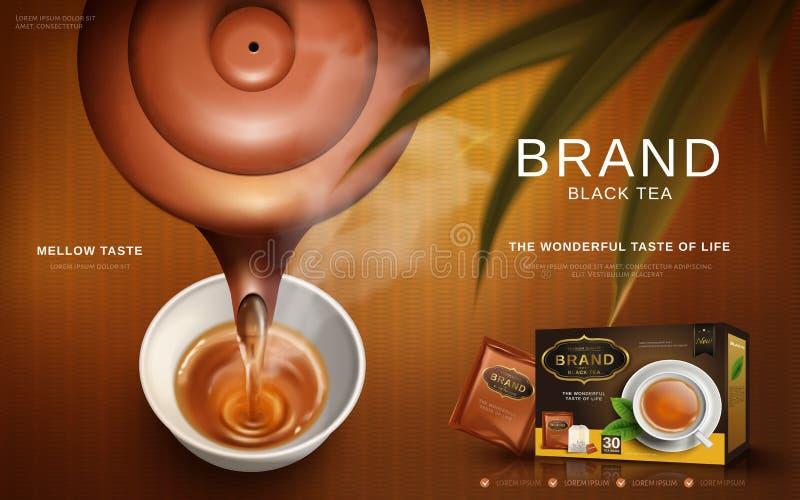 Annons för svart te stock illustrationer