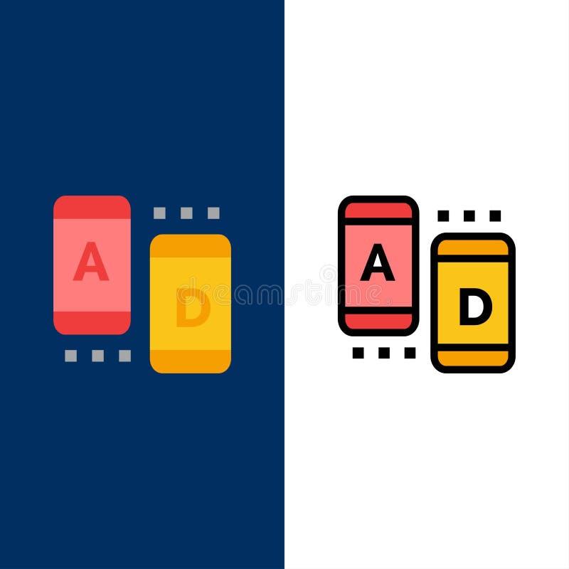 Annons marknadsföring som är online-, minnestavlasymboler Lägenheten och linjen fylld symbol ställde in blå bakgrund för vektorn royaltyfri illustrationer