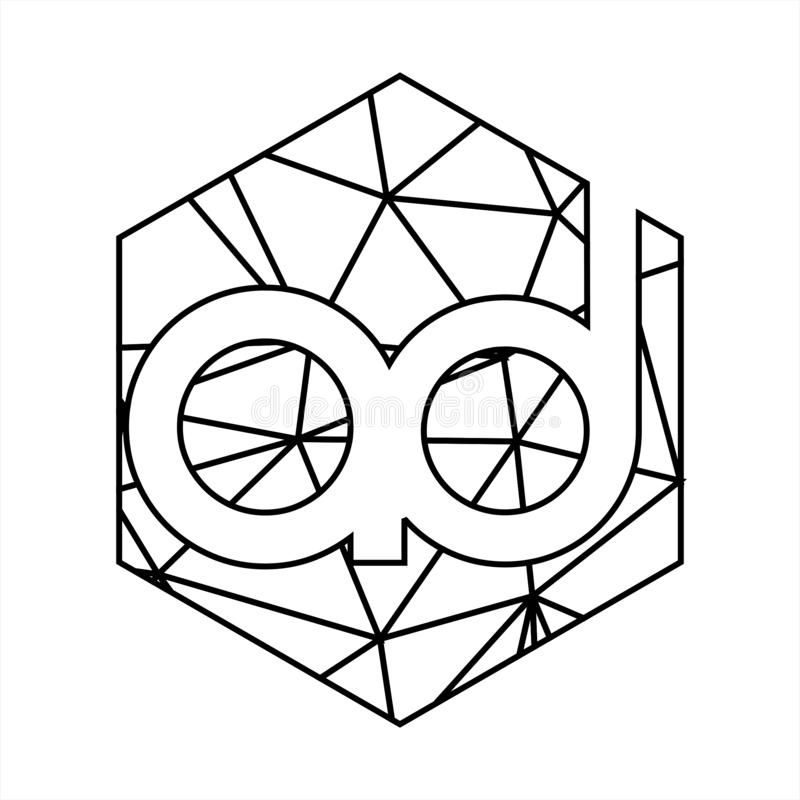 Annonsen märker med sina initialer den geometriska linjen konstlogo för triangeln stock illustrationer