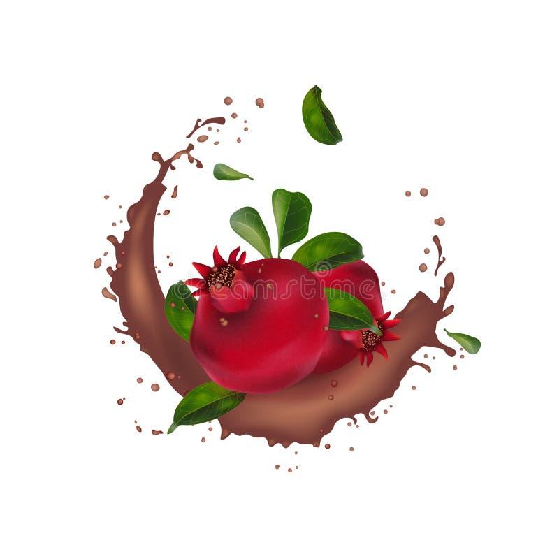 Annonser för granatäpplekakaochoklad med att plaska Goda f?r att f?rpacka, sk?nhetsmedel, coctail, brunnsort, granat?pplefruktsaf royaltyfri bild