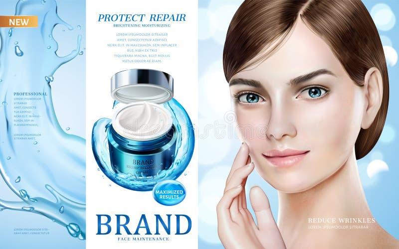 Annonser för hudomsorg royaltyfri illustrationer