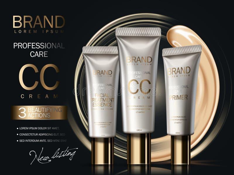 Annonser för professionellCC-kräm royaltyfri illustrationer