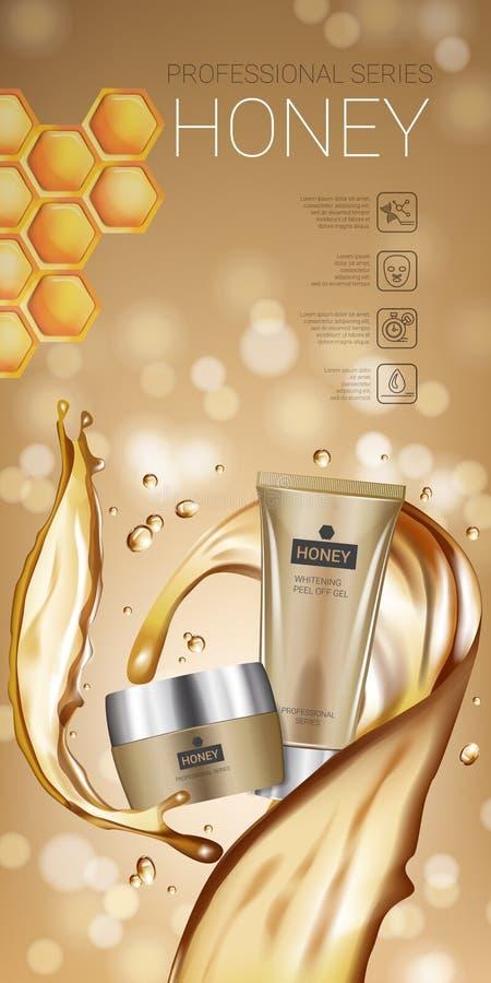Annonser för serie för honunghudomsorg Vektorillustration med honung som slätar det kräm- röret och behållaren vektor illustrationer