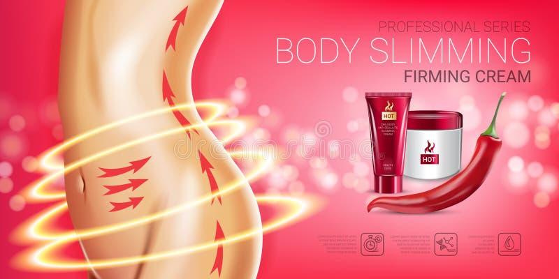 Annonser för serie för kropphudomsorg Vektorillustration med bantningen för kropp för chilipeppar som fäster det kräm- röret och  vektor illustrationer