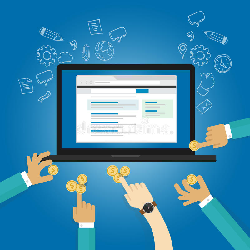 Annonser som bjuder online-advertizinglönrealtime per donation för bidrag för klicksiktsbetalning stock illustrationer