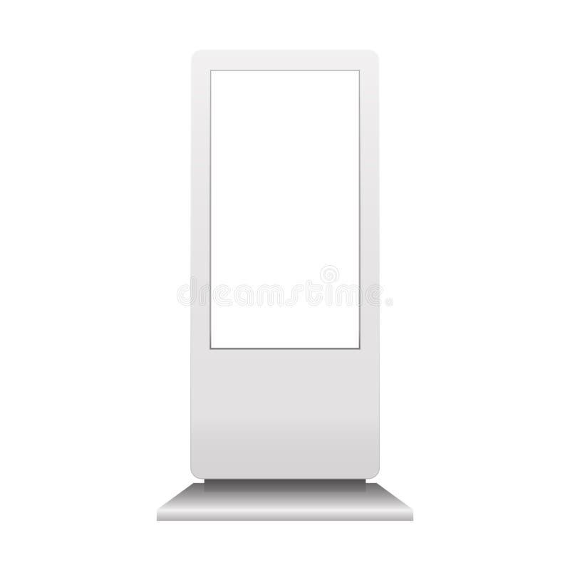 Annonsera den digitala signagemodellen som isoleras på vit bakgrund Multimediaställningsmall Ställning Bann för pos. POI för utom royaltyfri illustrationer