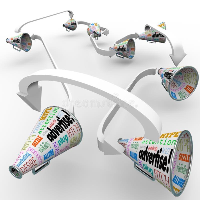 Annonsera megafonmegafoner förbindelsefördelande marknadsföringsröra vektor illustrationer