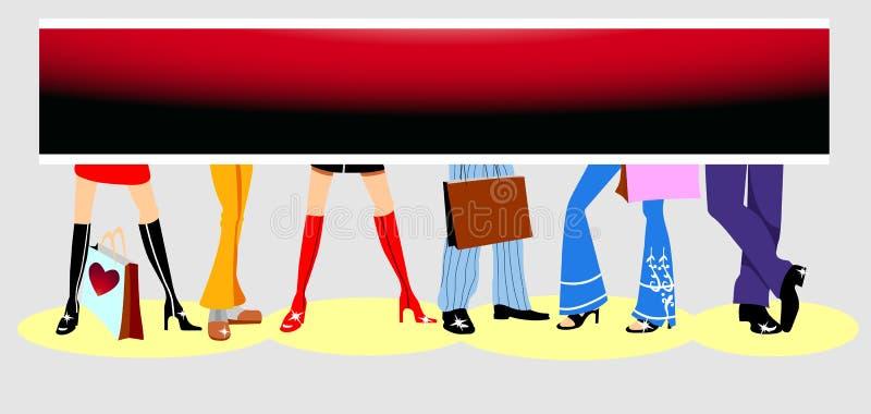 annonsera skon shoppa vektor illustrationer