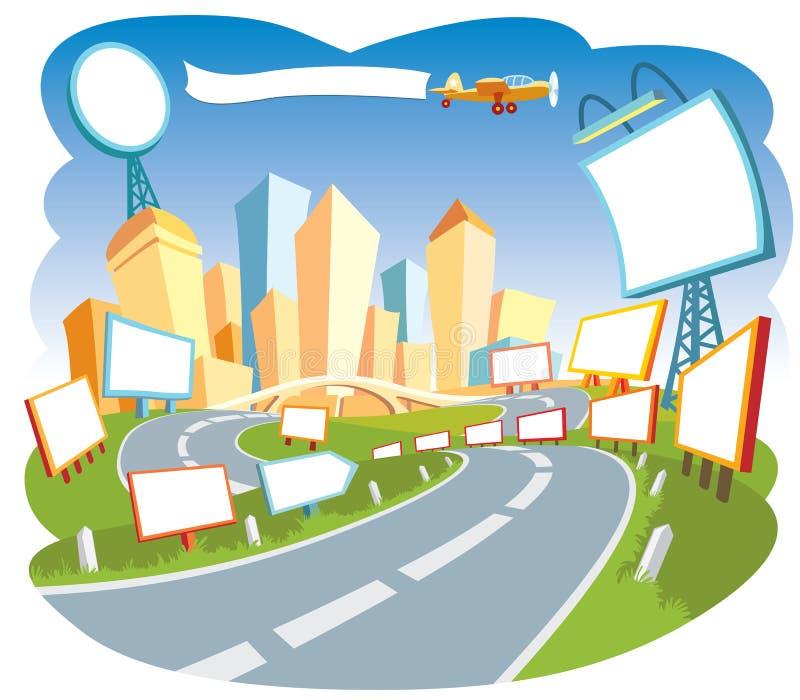 annonserande stad 2 royaltyfri illustrationer