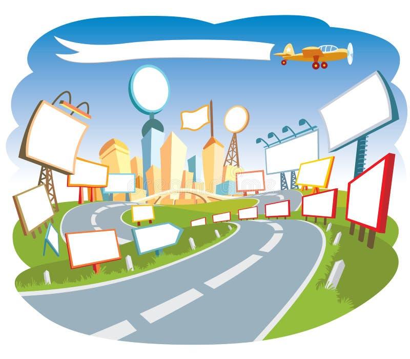 annonserande stad 3 royaltyfri illustrationer