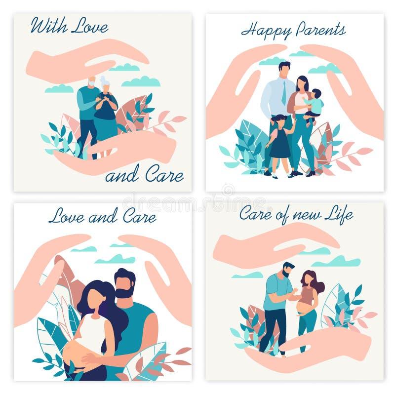 Annonsering av affischinskriften med förälskelse och omsorg royaltyfri illustrationer