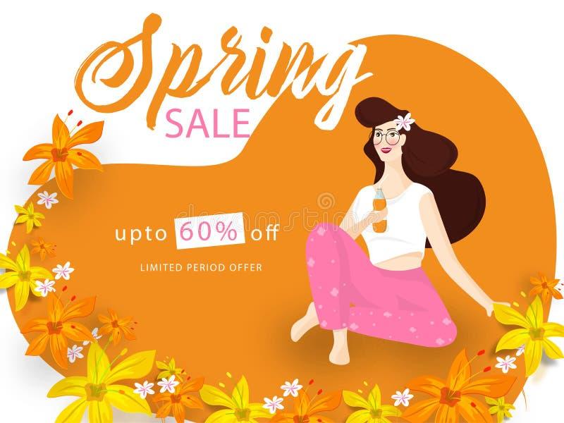 Annonsering av baner- eller affischdesign med den härliga unga flickan som dricker fruktsaft stock illustrationer