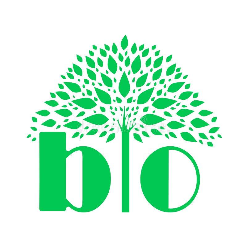 Annonsering av BIO logo Ett exempel av en vektorteckning royaltyfri illustrationer
