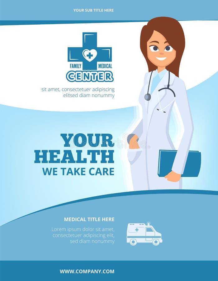 Annonsering av den medicinska reklambladet Design för broschyrräkningsorientering med den kvinnliga doktorn i affisch eller vekto royaltyfri illustrationer