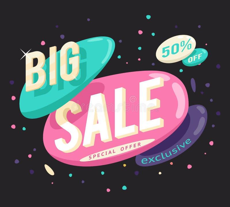 Annonsering av den stora illustrationen för vektor för klistermärke för begrepp för specialt erbjudande för försäljningsbanerorie stock illustrationer