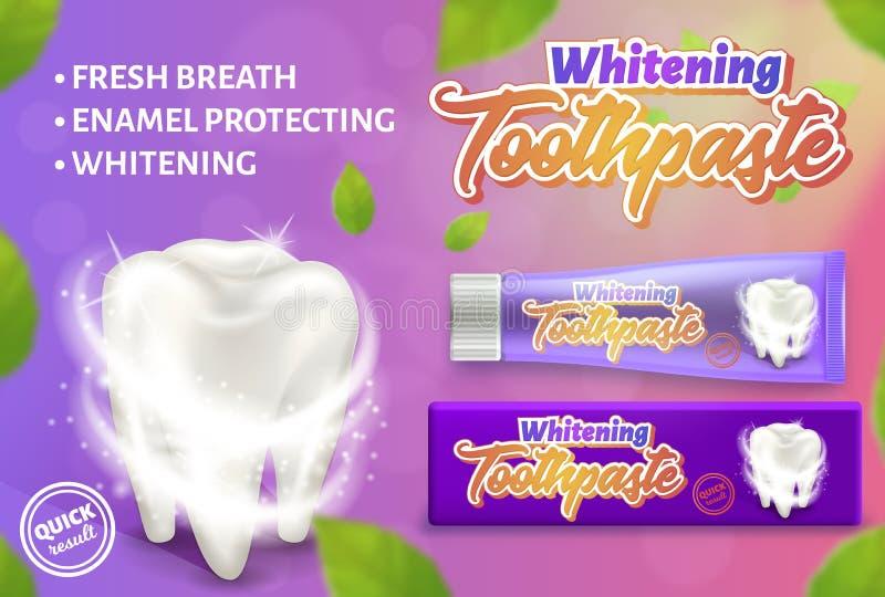 Annonsering av designbegrepp av den göra vit tandkrämen illustration för vektor som 3d visar tandkräm och den vita tanden royaltyfri illustrationer