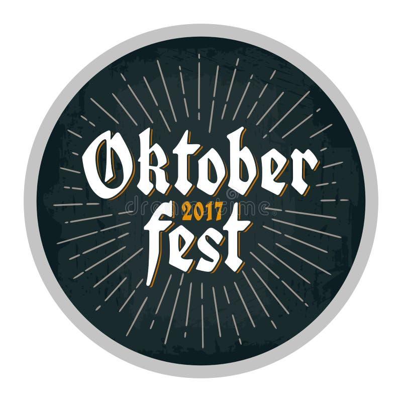 Annonsering av designen för kustfartyg Oktoberfest bokstäver 2017 med strålar vektor illustrationer