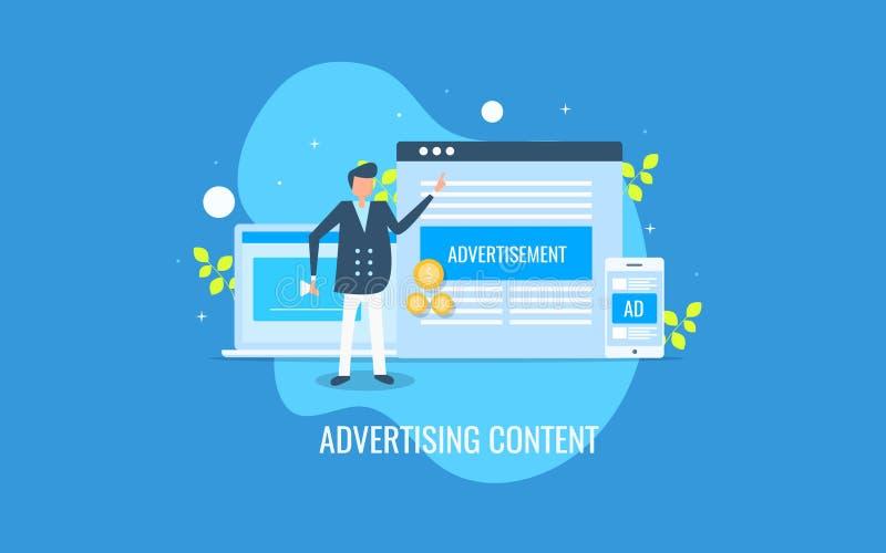 Annonsering av innehållet, nöjd marknadsföring för skärm, affärsman som kör den digitala annonseringen Plant designvektorbaner royaltyfri illustrationer