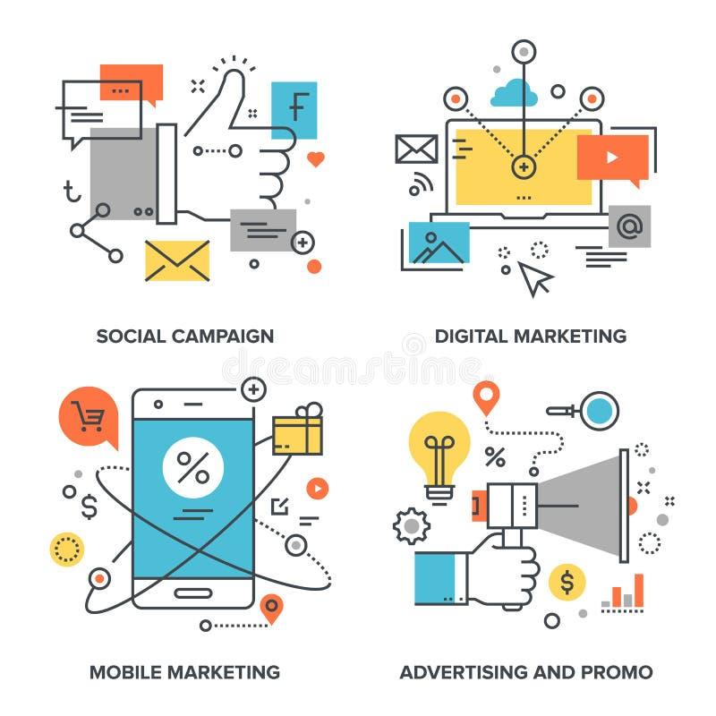 annonsering av marknadsföring royaltyfri illustrationer