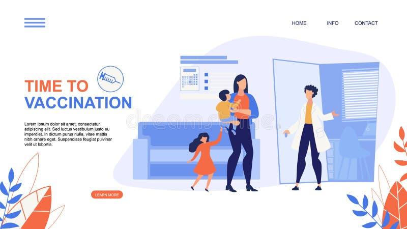 Annonsering av reklambladet Tid till vaccineringbokstäver stock illustrationer