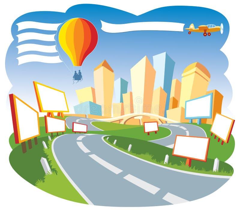 annonsering av staden stock illustrationer