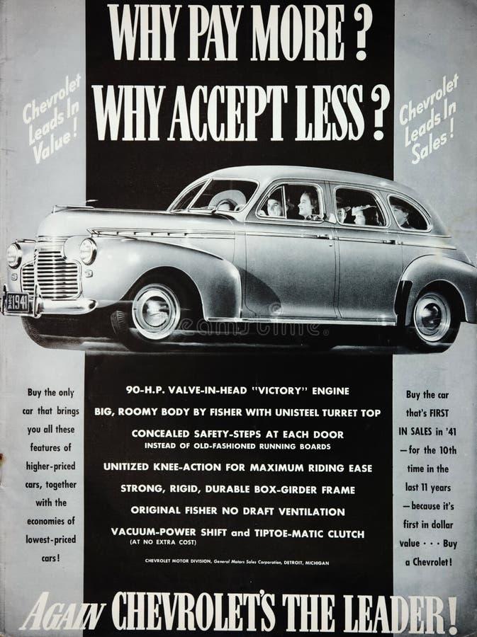 Annonsering för tappning40-talChevrolet bil arkivbilder