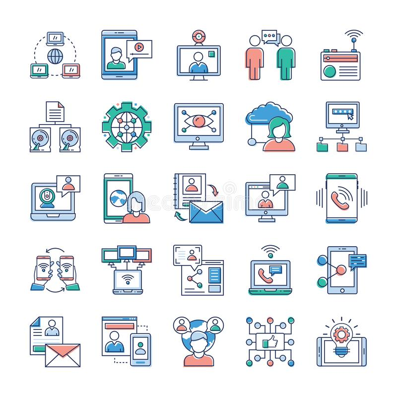 Annonsering, kommunikation och knyta kontakt symbolssamlingen vektor illustrationer