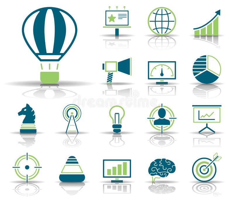 Annonsering & marknadsföring - Iconset - symboler royaltyfri illustrationer