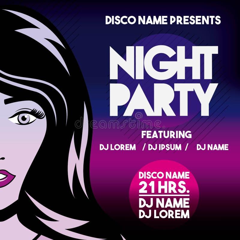 Annonsering med flickasymbolen Nattparti och disko vektorgraphi vektor illustrationer