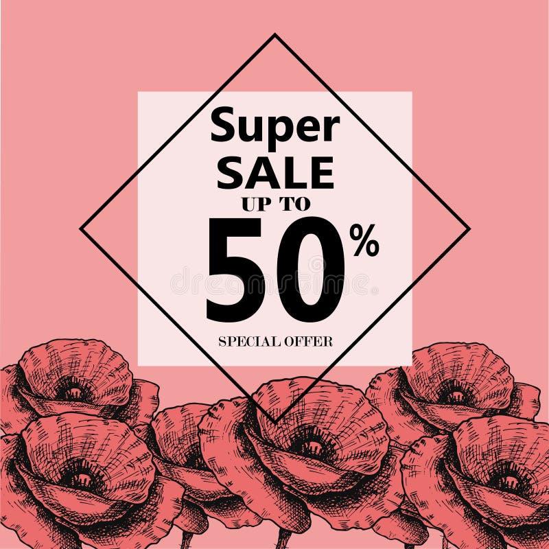 Annonsering om sommarförsäljningen på bakgrund med härliga Poppy Flowers, bokstäver, kalligrafi En säsongsbetonad rabatt royaltyfri illustrationer