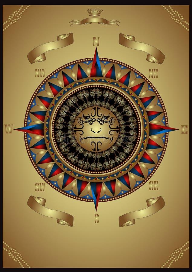 annonsering wind för lyx för banerguldhuvud av rose royaltyfri illustrationer