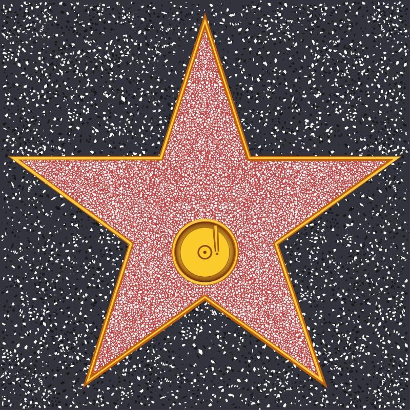 Annotazione di fonografo della stella (passeggiata di Hollywood di fama) illustrazione vettoriale