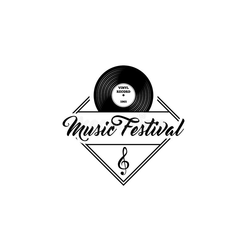 Annotazione di vinile, chiave tripla Modello di logo di festival di musica Icone musicali Vettore illustrazione di stock