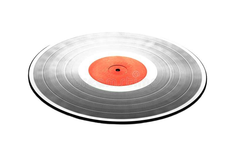 Annotazione nera di LP con l'etichetta rossa isolata sul primo piano bianco immagine stock libera da diritti