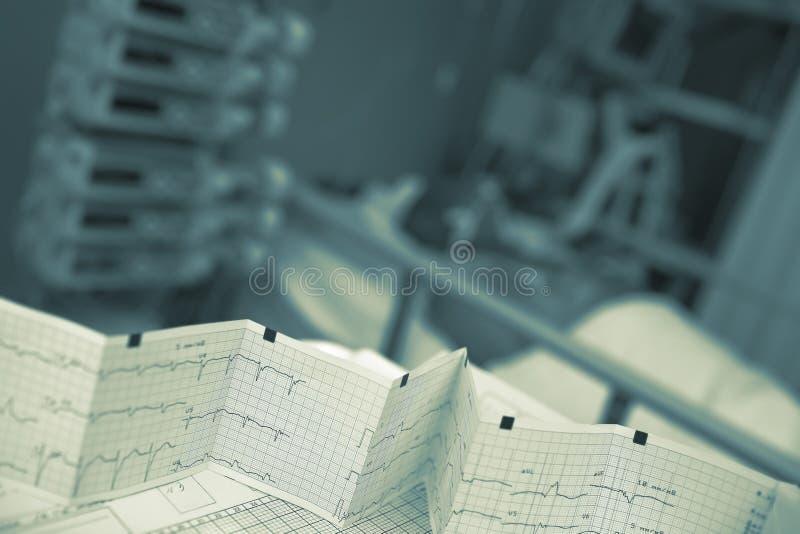 Annotazione piegata di ECG sulla tavola di professione d'infermiera il lato del letto paziente immagine stock libera da diritti