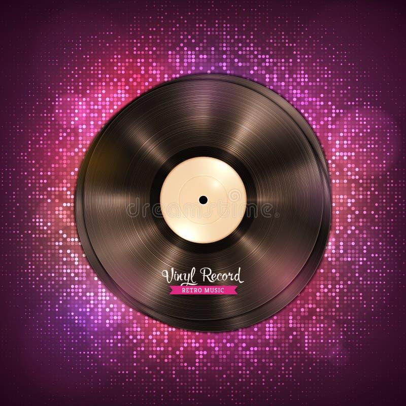annotazioni di vinile A lungo da suonare di LP Contesto di musica con le luci della discoteca illustrazione di stock