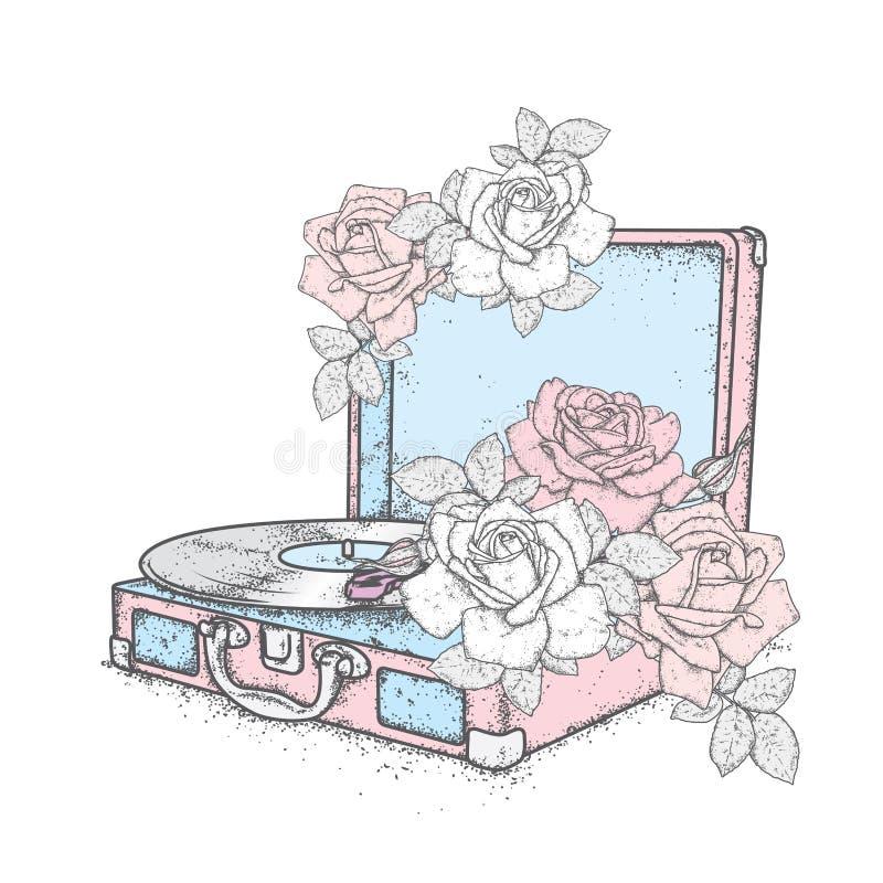 Annotazioni e rose di vinile d'annata del giradischi annata Musica Vector l'illustrazione per una cartolina o un manifesto fotografia stock