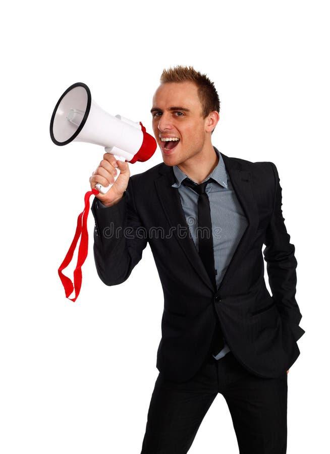 Annoucement dell'uomo d'affari immagini stock libere da diritti