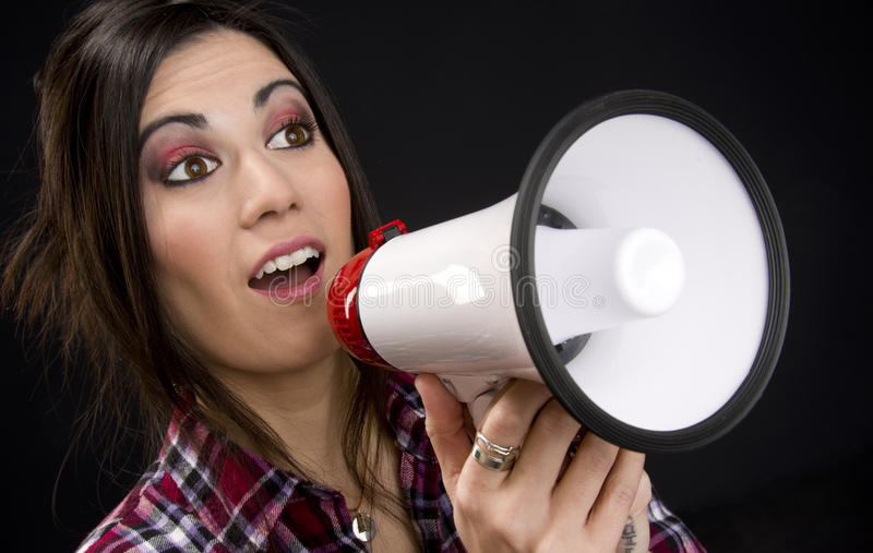 Announcement Amplyfied in Megaphone by Sales Woman royalty free stock photos