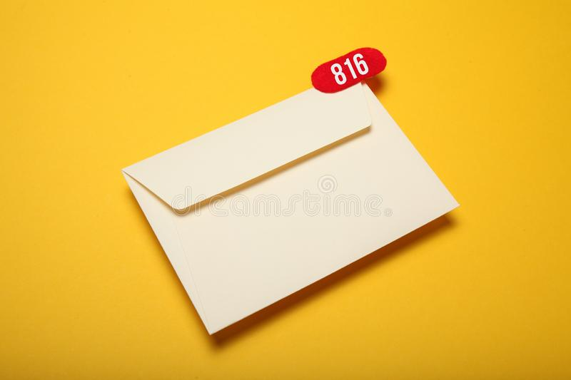 Announcement, address communication chat. Contact mail correspondence. Received message.  royalty free stock photos