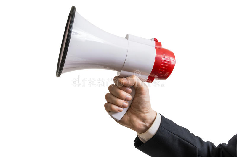 Announcement concept. Hand holds megaphone. Isolated on white background.  stock photography