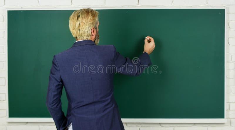 Announcement of free courses. Advertisement concept. Take placement test. Teacher wanted. Teachers enlighten path of. Success. Teacher explain topic. Man stock photo